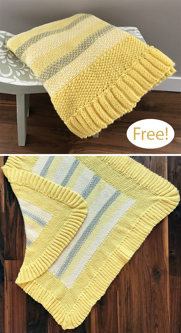 Free Knitting Pattern for Sunnyside Up Baby Blanket
