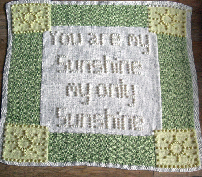 Knitting Pattern for You Are My Sunshine Bobble Baby Blanket