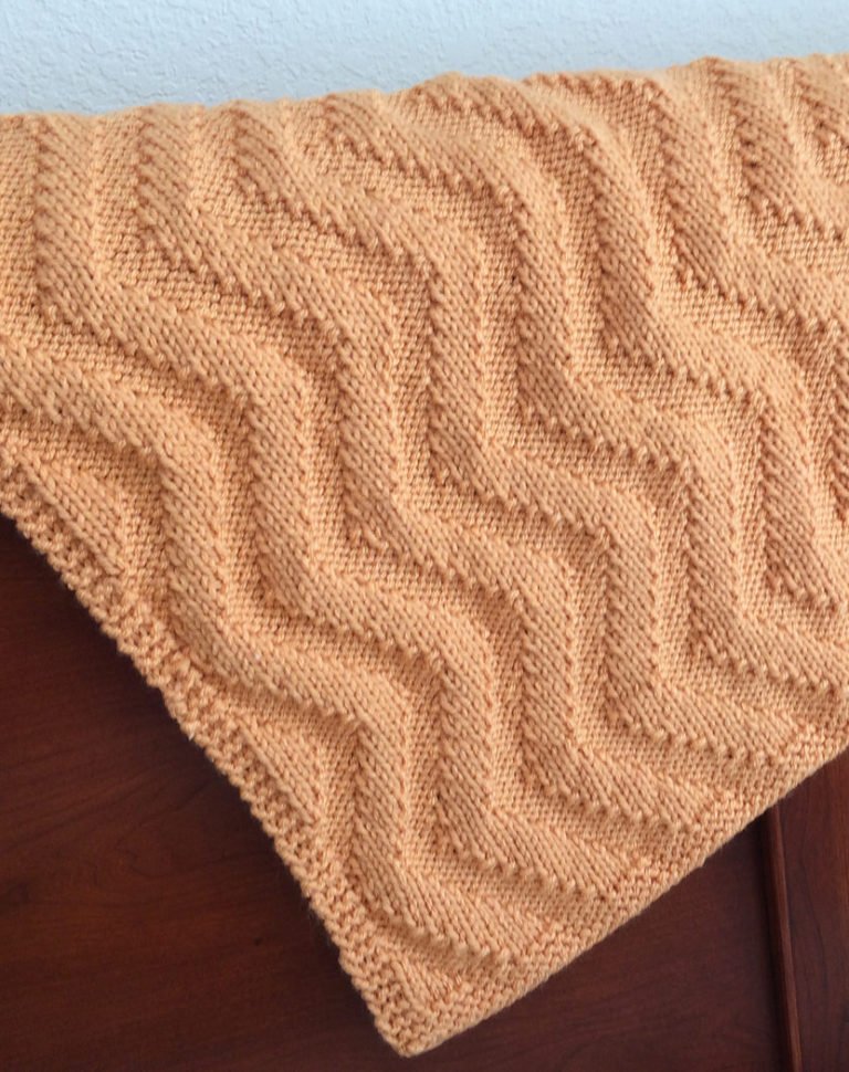 Free Knitting Pattern for Sunshine Chevron Baby Blanket
