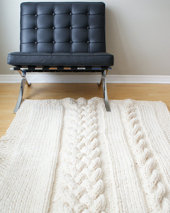 Double Cable Super Chunky Rug / Throw
