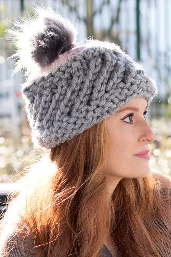 Free Knitting Pattern for Jumbo Swirl Hat