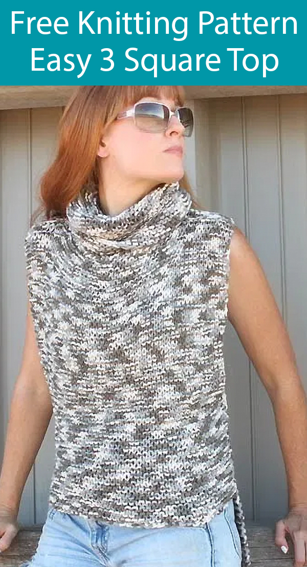 Free Knitting Pattern for Super Easy 3 Square Sweater