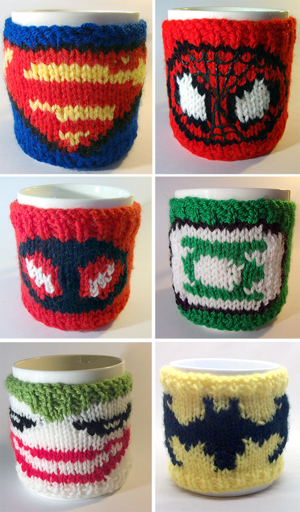 Knitting Patterns for Super Hero Mug Cozies