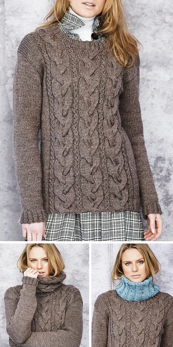 Knitting Patterns or Kit for Aran Cabled Sweater and 2 Cowls