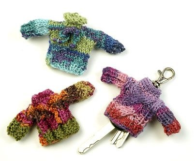 Free knitting pattern for Sweater Key Chain Covers and more stash buster knitting patterns