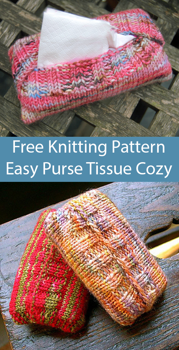 Free Knitting Pattern for Easy Cozies for Purse Size Tissue Packets