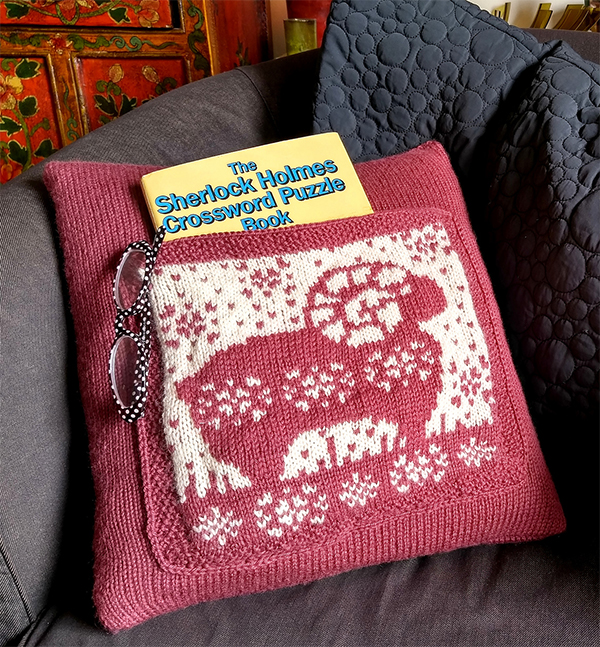 Knitting Pattern for Sweet Eustace Cushion With Pocket