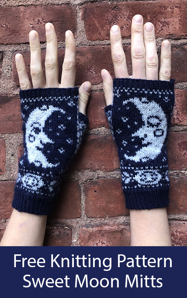 Free Knitting Pattern for Sweet Moon Mitts