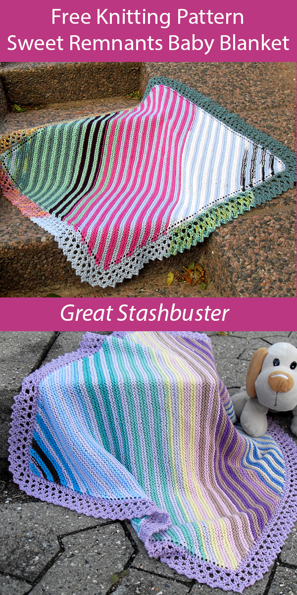 Free Knitting Pattern for Sweet Remnants Baby Blanket Stashbuster