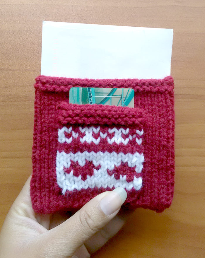 Free Knitting Pattern for Gift Card Pouch