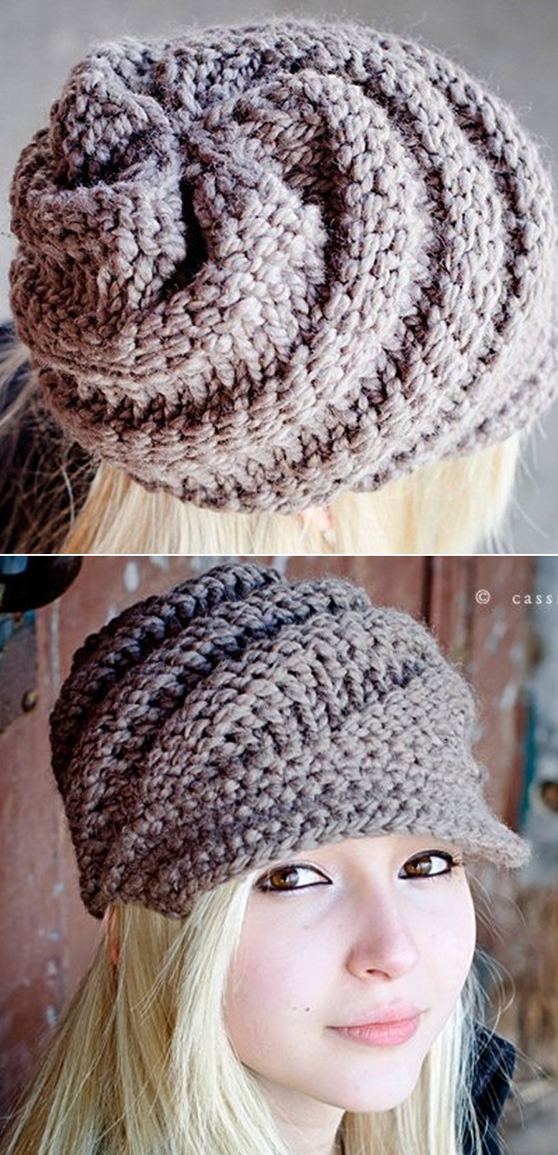 Knitting Pattern for Swirl Beanie With Optional Visor f47578ddb937