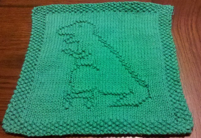 Free knitting pattern for Roller Skating T Rex Dishcloth