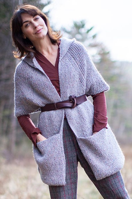 Free Knitting Pattern for Tamarind Wrap with Pockets and Hood