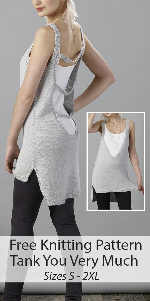 Free Knitting Pattern for Tank You Very Much Sizes S - 2XL