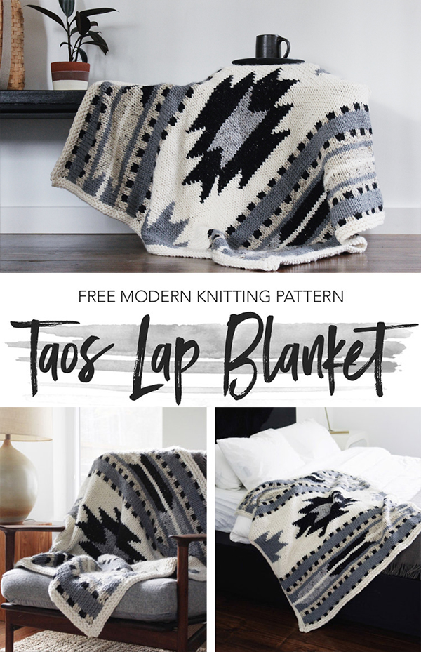 Free Knitting Pattern for Taos Lap Blanket