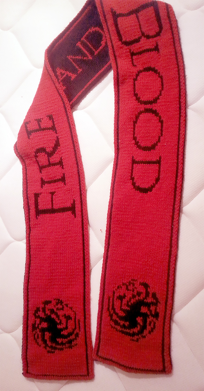 Free Knitting Pattern for House Targaryen Scarf