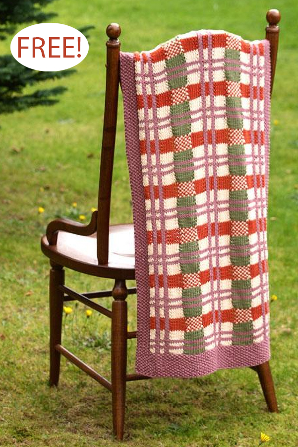 Free Knitting Pattern for Tartan Jewel Throw