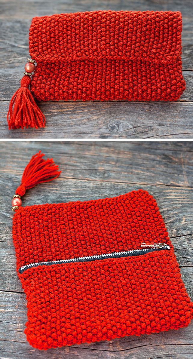 Free Knitting Pattern for 1 Row Repeat Tassel Clutch