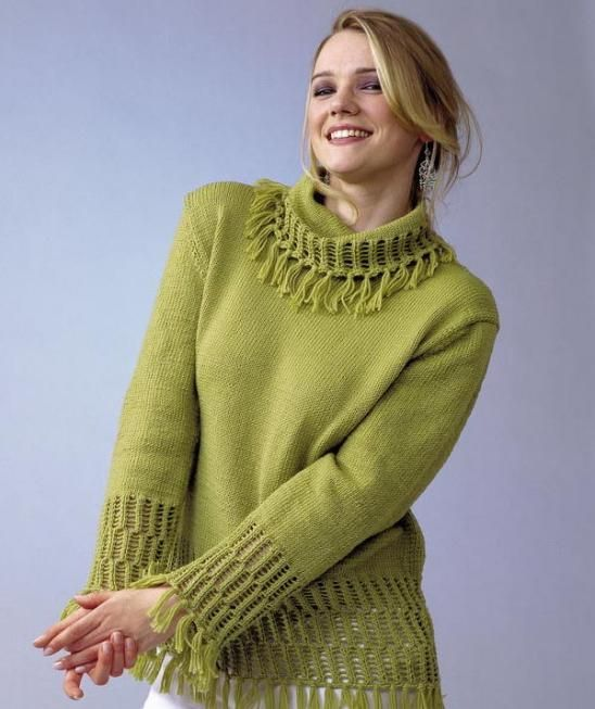 Free Knitting Pattern for Pullover Sweater with tassels and more pullover  knitting patterns e16cbc029