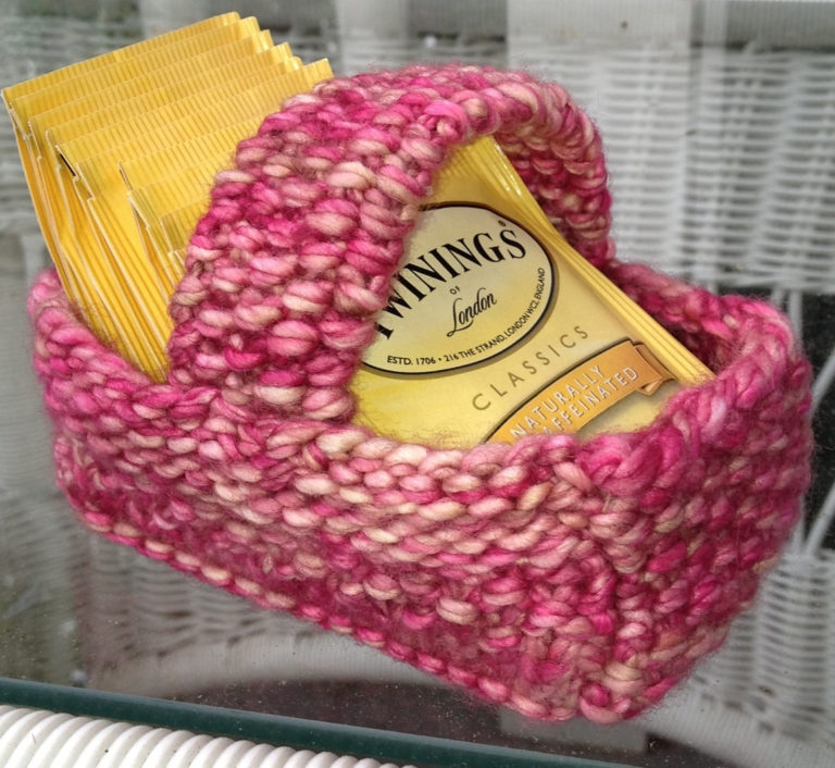 Free Knitting Pattern for Tea Bag Basket