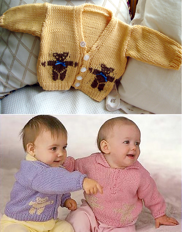 Free Knitting Pattern for Teddy Bear Cardigan & Pullover for Baby