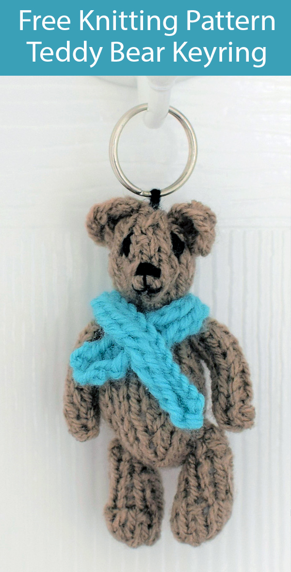 Free Knitting Pattern for Teddy Bear Keyring