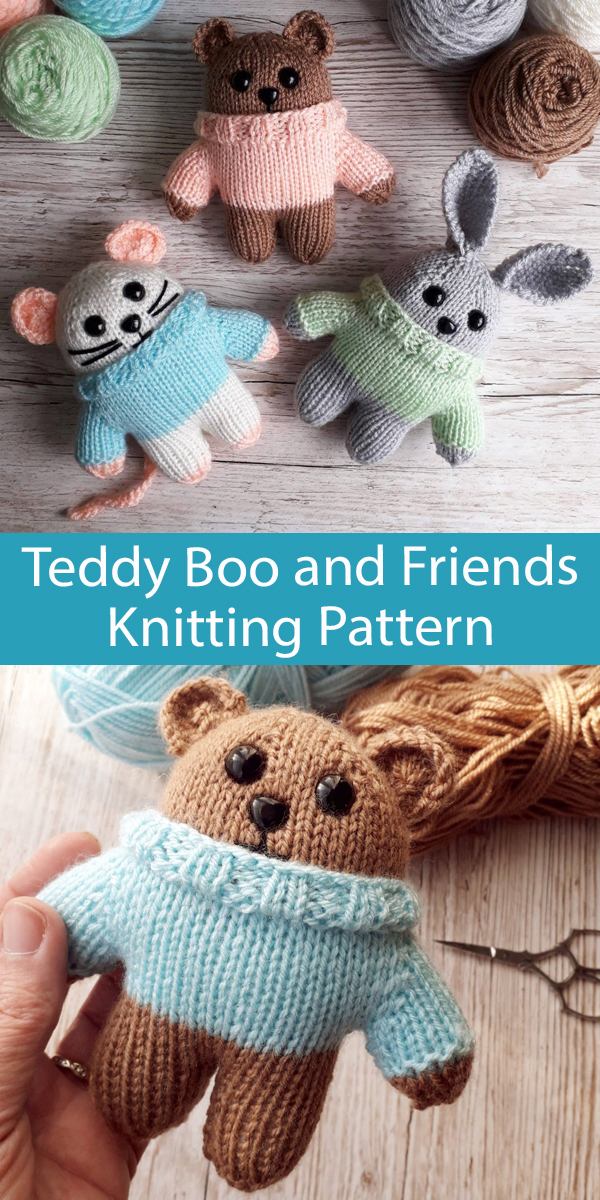 Teddy Bear, Bunny, Mouse Knitting Pattern Teddy Boo and Friends