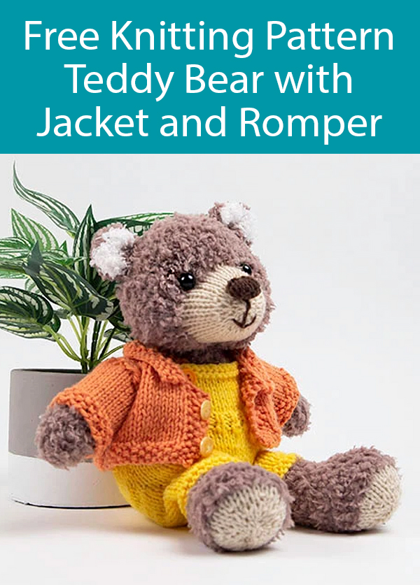 Free Knitting Pattern for Teddy Bear with Jacket and Romper. $20 Kit Available