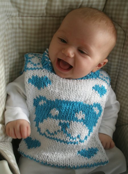 Knitting Pattern for Teddy for Tots Baby Bib