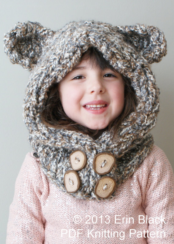 Chunky Bear Hood in Toddler, Child and Adult Sizes Knitting Pattern | Favorite Bear Knitting Patterns including Teddy Bears, Paddington Bear, Koala Bear - many free patterns