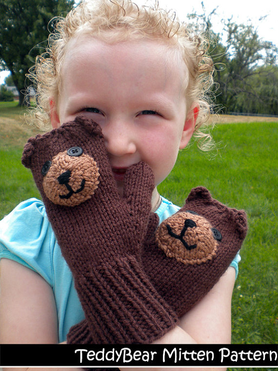 Teddy Bear Mittens for Children Knitting Pattern | Favorite Bear Knitting Patterns including Teddy Bears, Paddington Bear, Koala Bear - many free patterns