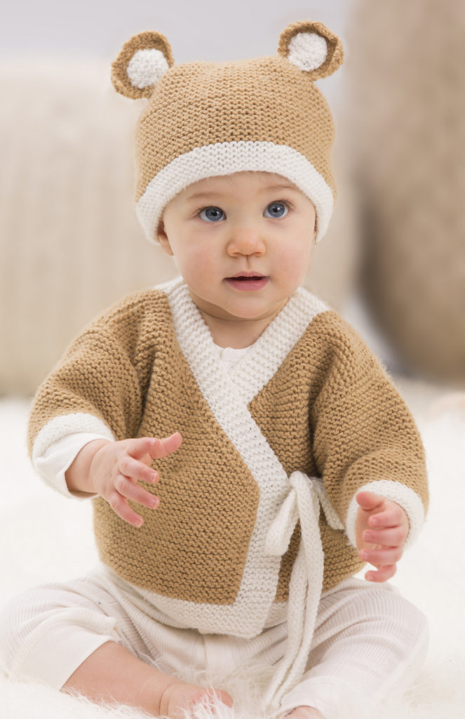 Free Knitting Pattern for Baby Teddy Sweater and Hat