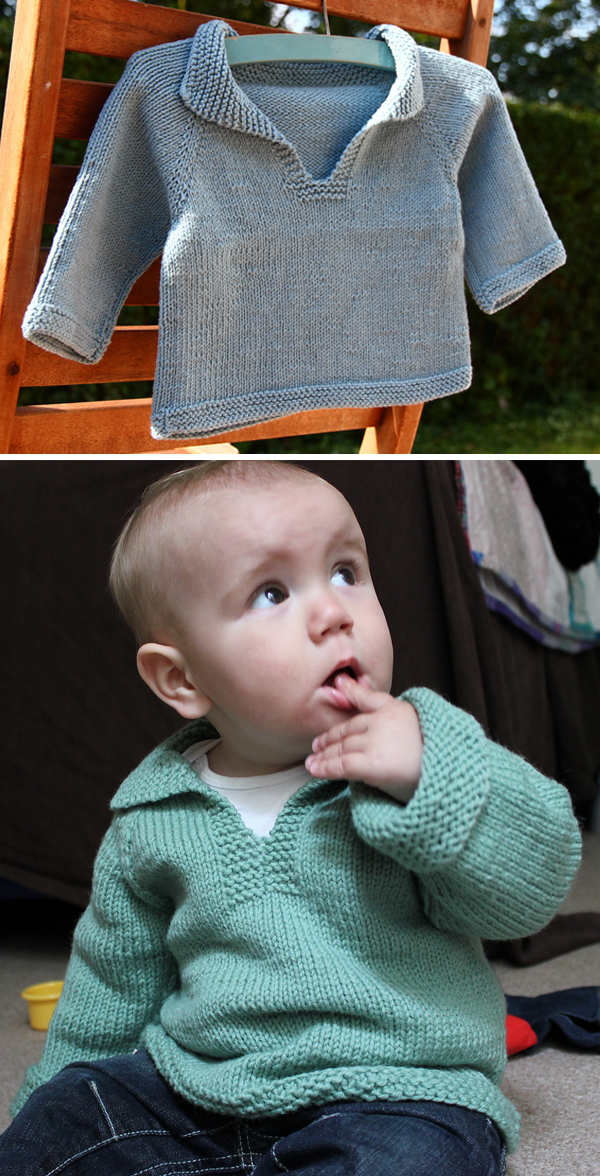 Free Knitting Pattern for Easy Baby Telemark Pullover