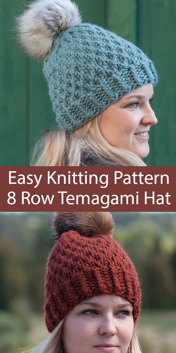 Easy Knitting Pattern for 8 Row Temagami Hat