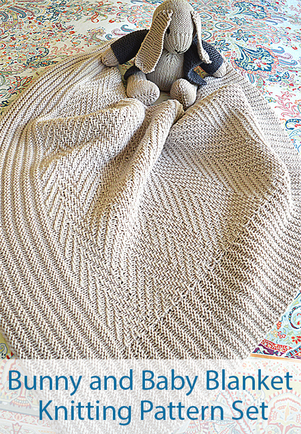 Knitting Pattern for Bunny and Baby Blanket Set