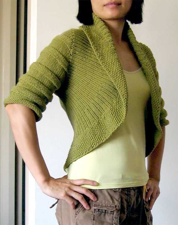 Free Knitting Pattern for Textured Circle Shrug