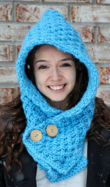 Knitting Pattern for Textured Hooded Cowl