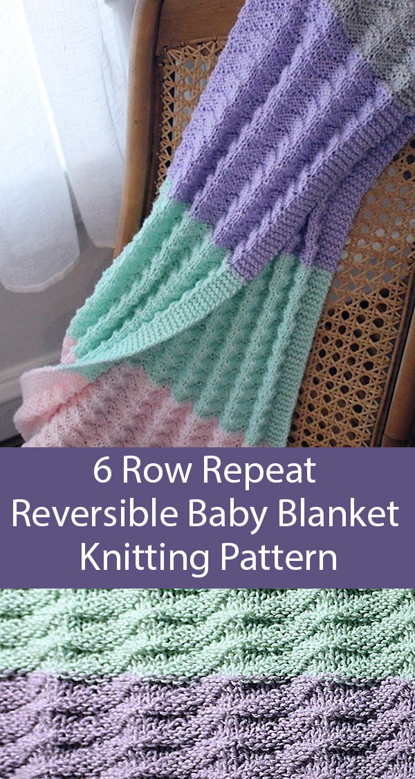 Knitting Pattern for Easy 6 Row Repeat Reversible Baby Blanket