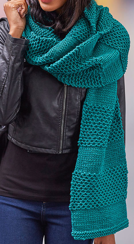 Free Knitting Pattern for Textured Stripes Super Scarf