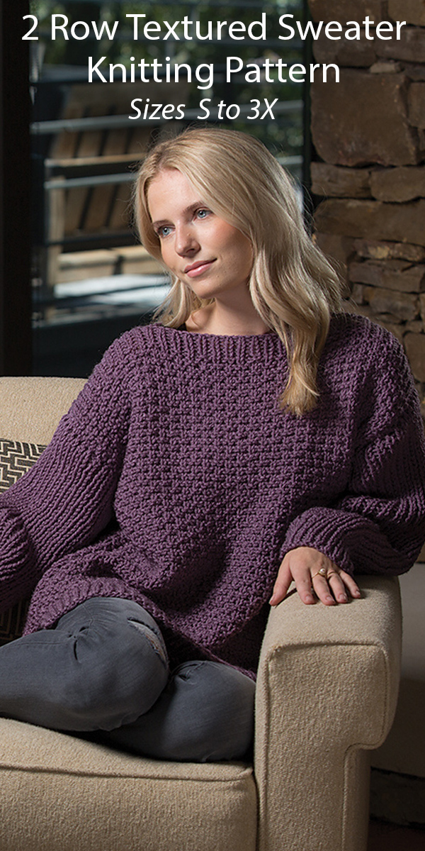 Knitting Pattern for 2 Row Repeat Textured Sweater