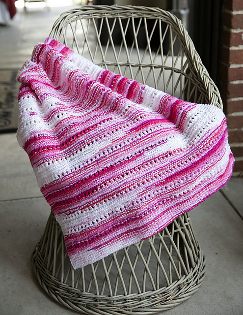 Free knitting pattern for Eyelet Textured Baby Throw
