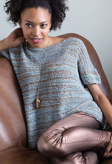 Knitting Pattern for Thelma Tee in Garter Stitch