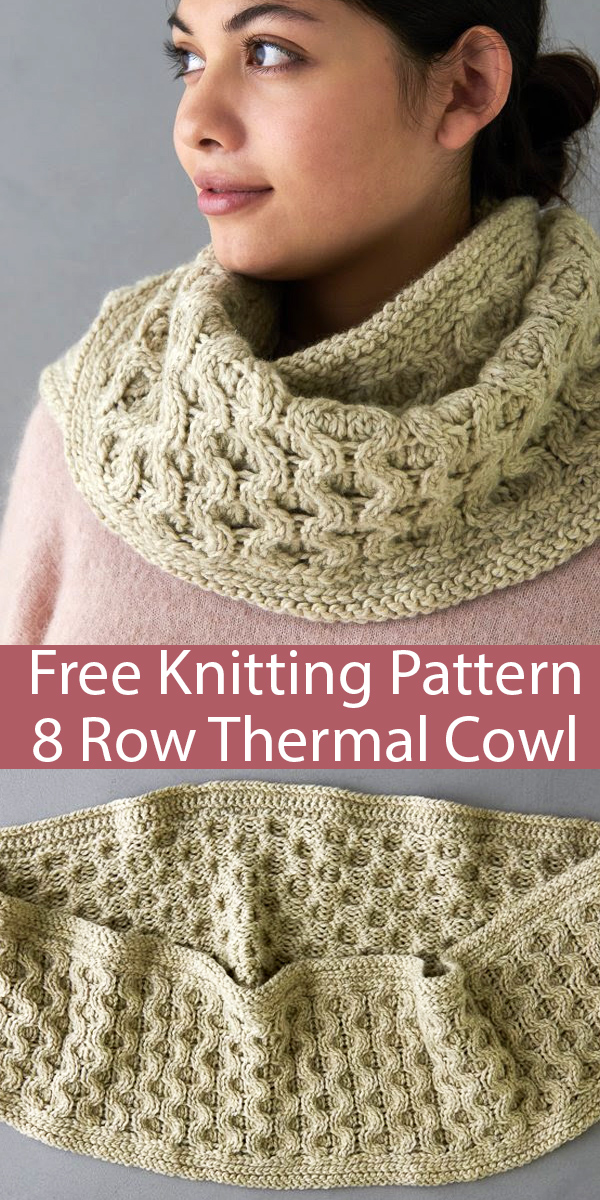 Free Knitting Pattern for 8 Row Repeat Cable Thermal Cowl in Bulky Yarn