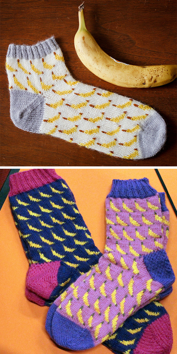 Free Knitting Pattern for Bananas Socks