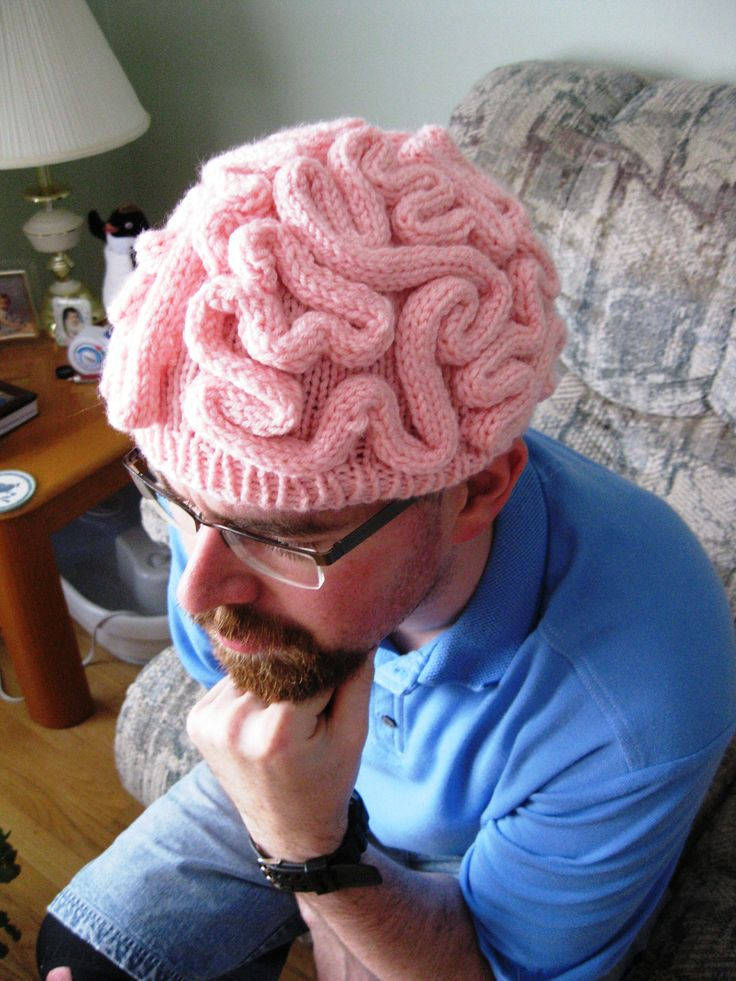 Free Knitting Pattern - Brain Hat Thinking Cap