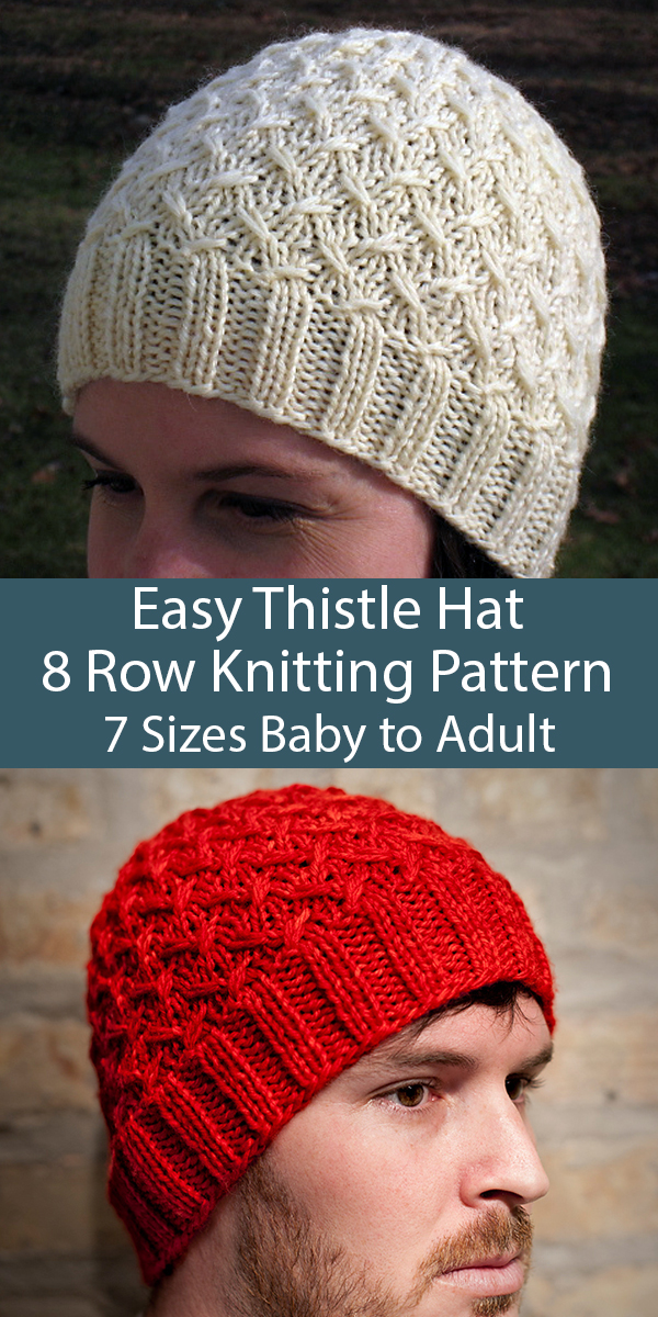 Free Knitting Pattern for Easy 8 Row Repeat Thistle Cap in 7 Sizes Baby to Adult