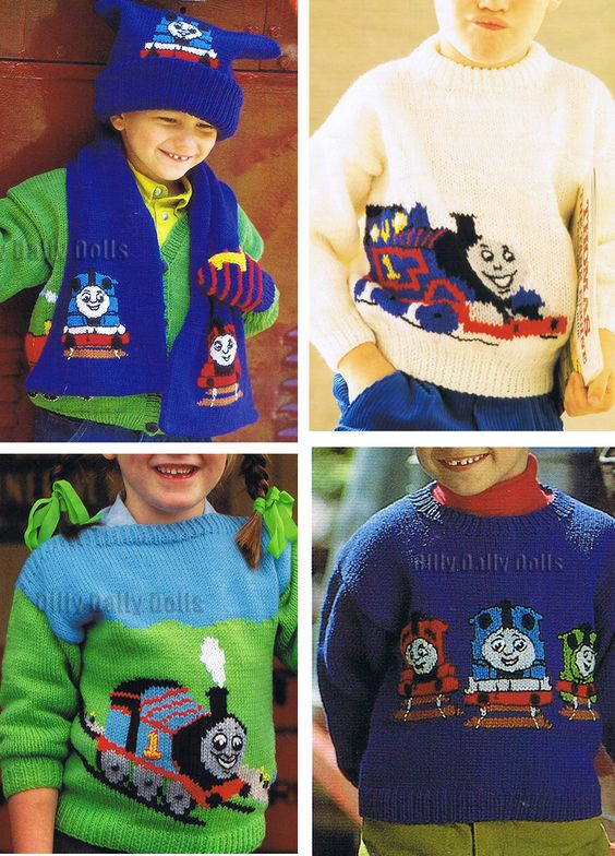 Knitting Patterns for Thomas the Tank Engine Sweaters, Hat, and Scarf