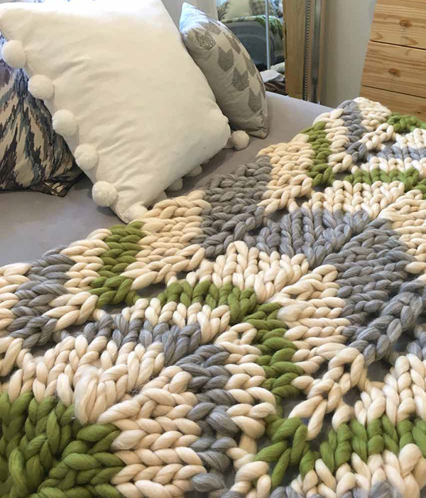 Free Knitting Pattern for 2 Row Repeat Three Color Chevron Throw