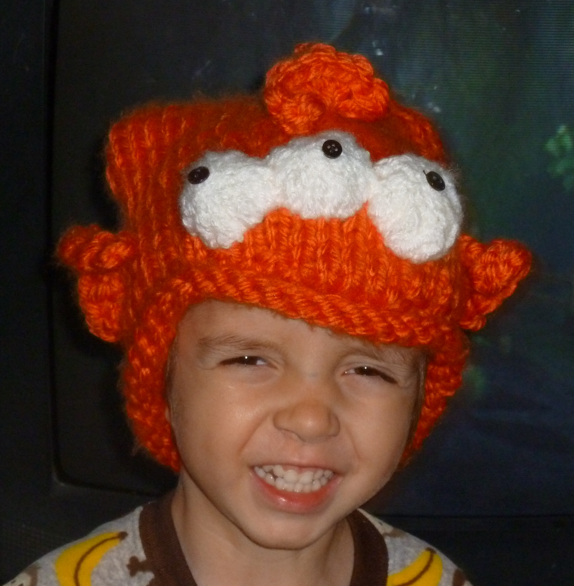 Free knitting pattern for Three Eyed Fish Hat and more movie and tv knitting patterns