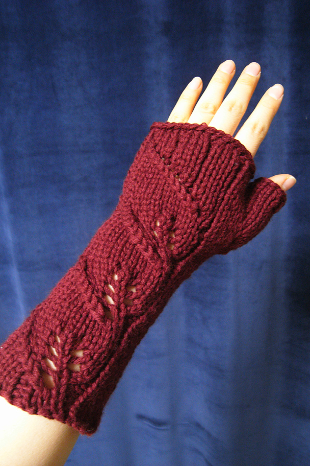 Free Knitting Pattern for Three Leaf Mitts